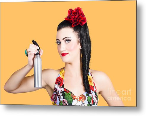 Accessories Metal Print featuring the photograph Pinup Woman Holding A Cleaning Spray Bottle by Jorgo Photography - Wall Art Gallery