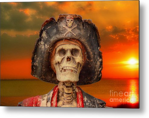 Pirate Metal Print featuring the digital art Pirate Skeleton Sunset by Randy Steele