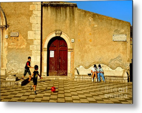 Antique Metal Print featuring the photograph Playing In Taormina by Silvia Ganora