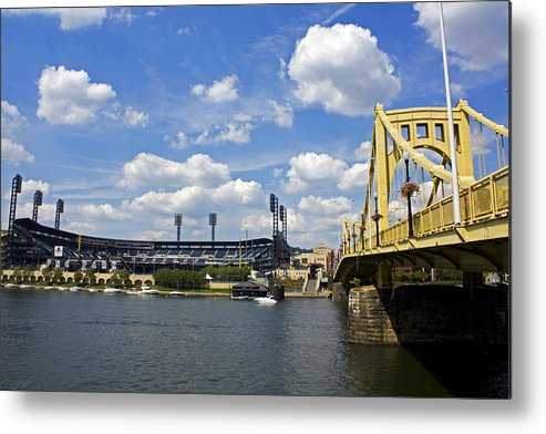Pittsburgh Metal Print featuring the photograph Pnc Park And Roberto Clemente Bridge Pittsburgh Pa by Kristen Vota