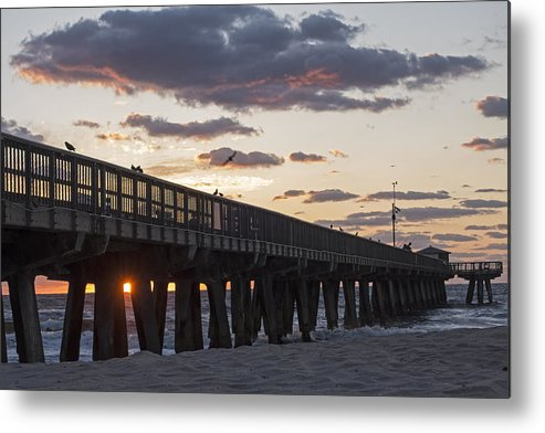 Pompano Metal Print featuring the photograph Pompano Beach Fishing Pier At Sunrise Florida by Toby McGuire