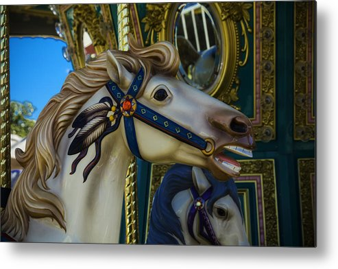 American Metal Print featuring the photograph Pony Carrsouel Portrait by Garry Gay