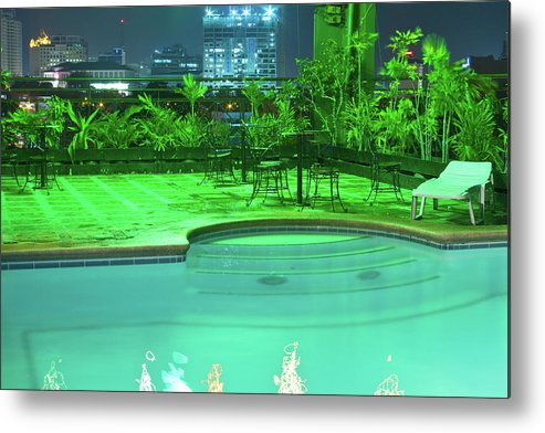 Insogna Metal Print featuring the photograph Pool With City Lights by James BO Insogna