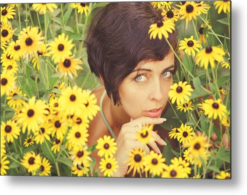 Girl Metal Print featuring the photograph Portrait In Flowers by Vladimir Zotov