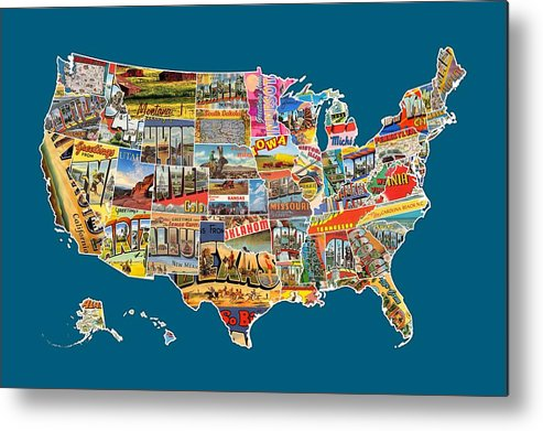 Postcards Of The United States Vintage Usa All States Map Metal - Vintage us map