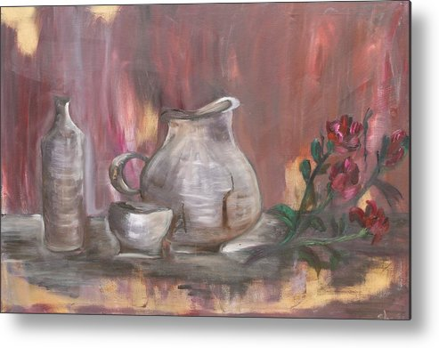 Still Life Metal Print featuring the painting Pottery by Sladjana Lazarevic