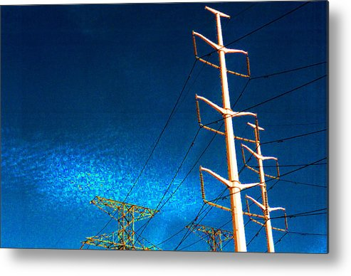 Sky Metal Print featuring the photograph Power Line Light Clouds 2 by Lyle Crump