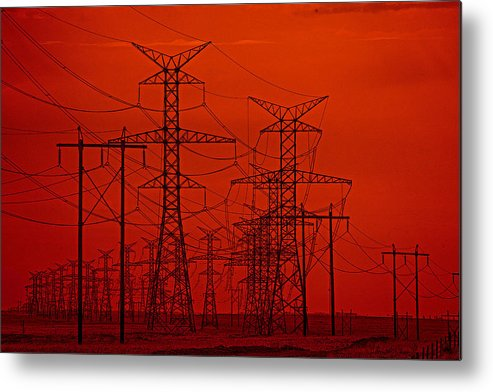 Red Metal Print featuring the photograph Power Lines by Darcy Dietrich