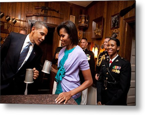 History Metal Print featuring the photograph President And Michelle Obama Attend by Everett