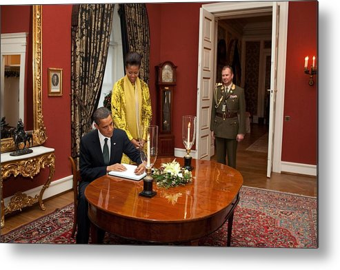 History Metal Print featuring the photograph President Obama And Michelle Obama Sign by Everett
