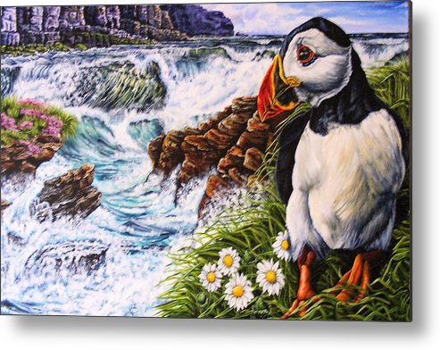 Puffin Metal Print featuring the painting Puffin Peace by Donald Dean