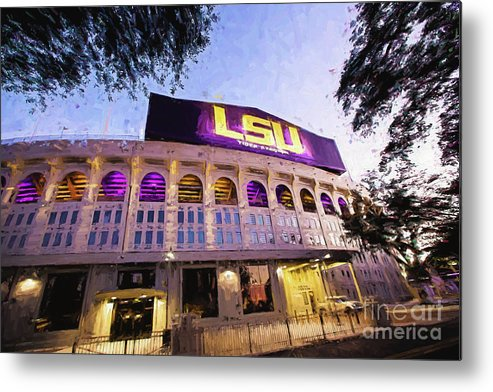 Lsu Metal Print featuring the photograph Purple And Gold - Digital Painting by Scott Pellegrin
