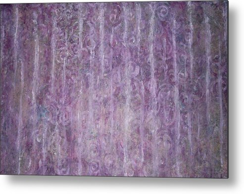 Rain Streaks Abstract Weather Fog Haze Metal Print featuring the painting Purple Haze by Sally Van Driest