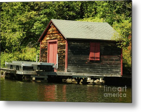Cabin Metal Print featuring the photograph Quiet Sunapee Fishing Cabin by Judy Carr