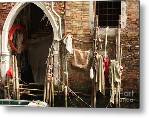 Venice Metal Print featuring the photograph Raggedy Door On Canal In Venice by Michael Henderson
