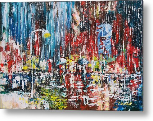 Landscape Metal Print featuring the painting Rain by Claude Marshall