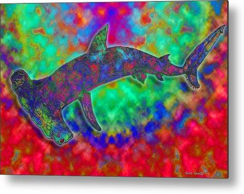 Hammerhead Shark Metal Print featuring the digital art Rainbow Hammerhead Shark by Nick Gustafson