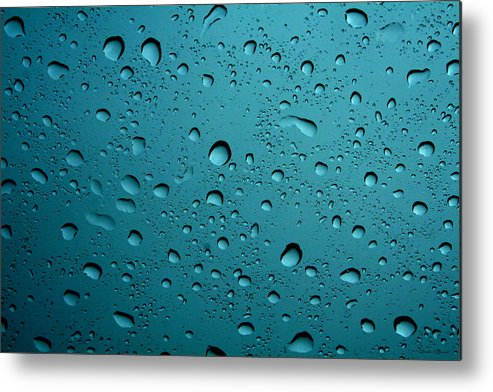 Abstract Metal Print featuring the photograph Raindrops by Linda Sannuti