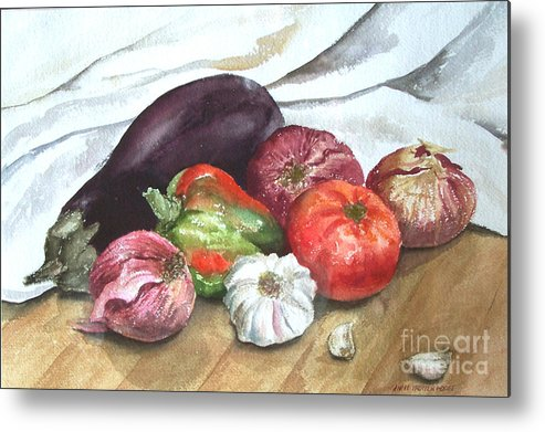 Still Life Metal Print featuring the print Ratatouille by Anne Trotter Hodge