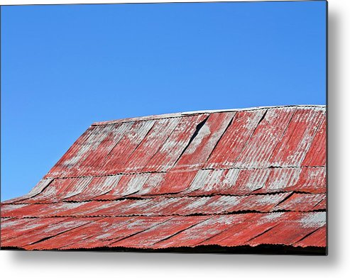 Barn Metal Print featuring the photograph Red Barn And Blue Sky- Fine Art by KayeCee Spain