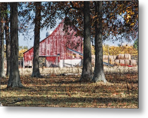 Agriculture Metal Print featuring the photograph Red Barn Through The Trees by Pamela Baker
