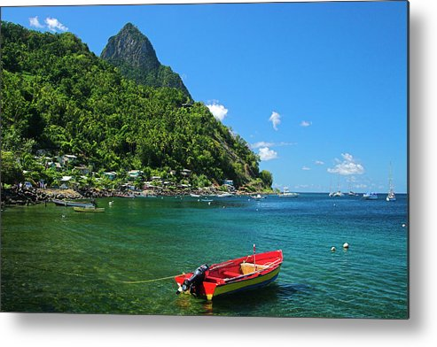 Red Metal Print featuring the photograph Red Boat- St Lucia by Chester Williams