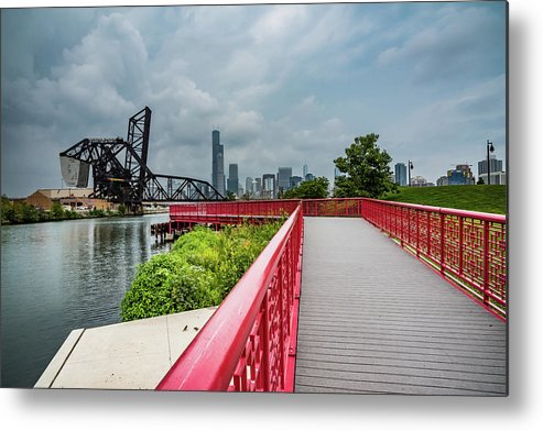 Chicago Metal Print featuring the photograph Red Bridge To Chicago by Anthony Doudt