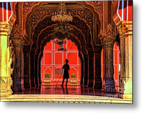 India Jaipur Indian Forts. Metal Print featuring the photograph Red Gaurd by Rick Bragan