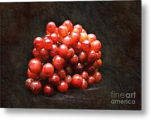 Red Metal Print featuring the photograph Red Grapes by Andee Design
