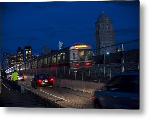 Red Metal Print featuring the photograph Red Line Train Rumbling Over The Longfellow Bridge In Boston Ma by Toby McGuire
