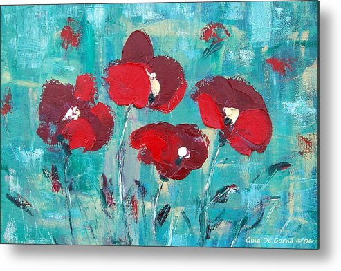Red Metal Print featuring the painting Red Poppies 2 by Gina De Gorna