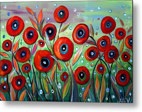 Flowers Metal Print featuring the painting Red Poppies In Grass by Luiza Vizoli