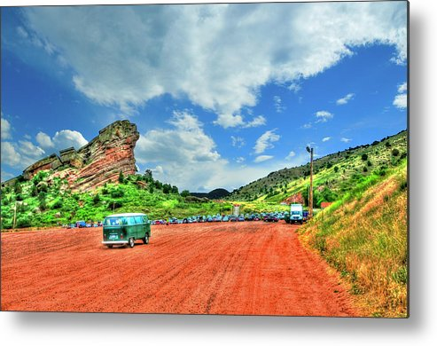 Mountains Metal Print featuring the photograph Red Rocks Hippie Van by Randy Aveille