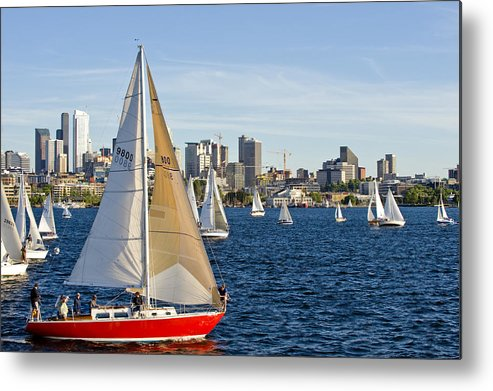 Seattle Metal Print featuring the photograph Red Sail Boat by Tom Dowd