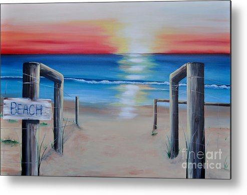 Sunset Metal Print featuring the painting Red Sunset by Tania Kay