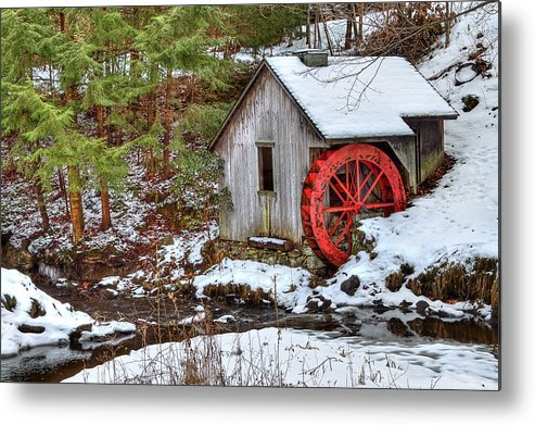 Cold Metal Print featuring the photograph Red Wheel by Evelina Kremsdorf