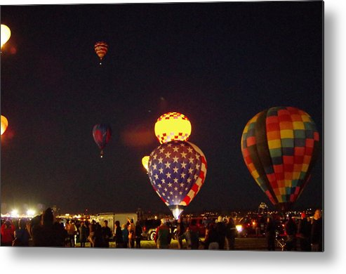 Hot Air Balloons Metal Print featuring the photograph Red, White, And Blue by Mike Wheeler