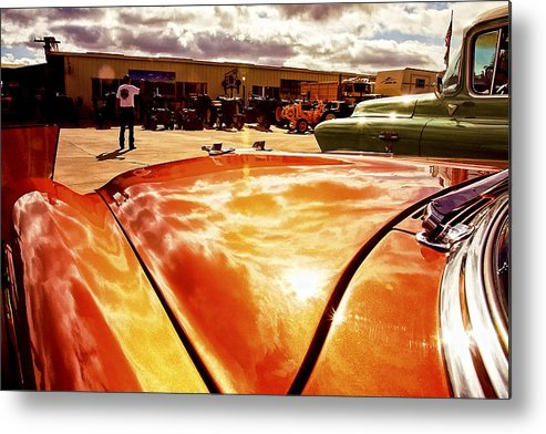 Car Metal Print featuring the photograph Reflections Of Fire by Lynn Andrews