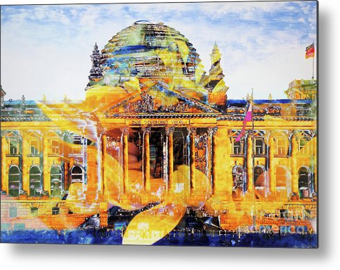Berlin Metal Print featuring the mixed media Reichstag And Flower by Nica Art Studio