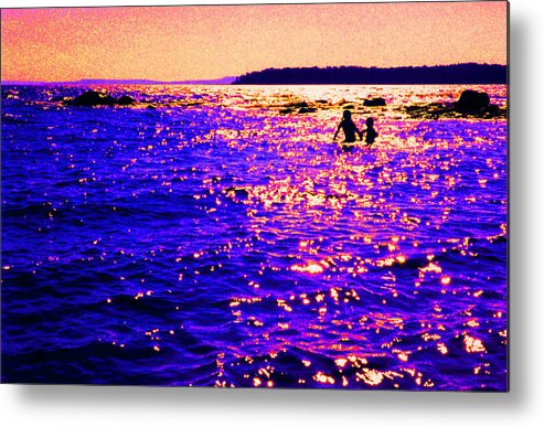 Abstract Metal Print featuring the photograph Reluctant Swimmer 2 by Lyle Crump
