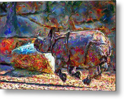 Animals Metal Print featuring the digital art Rhino On The Run by Marilyn Sholin