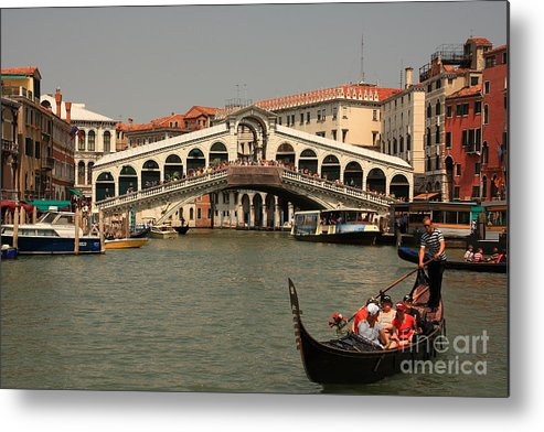 Venice Metal Print featuring the photograph Rialto Bridge In Venice With Gondola by Michael Henderson