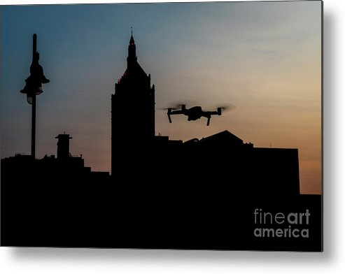 Quadcopter Metal Print featuring the photograph Rochester Drone Sunset by Joann Long