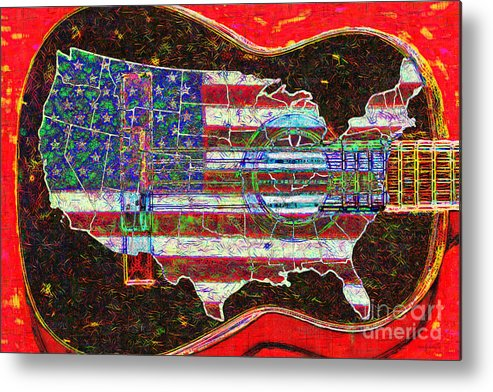 Music Metal Print featuring the photograph Rock And Roll America 20130123 Red by Wingsdomain Art and Photography