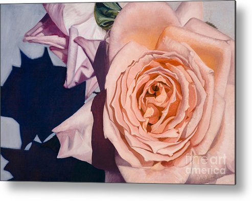 Roses Metal Print featuring the painting Rose Splendour by Kerryn Madsen-Pietsch