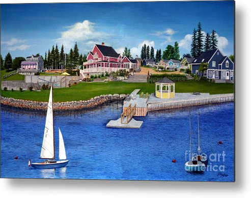 Landscape Metal Print featuring the painting Rosewood Cottages Nova Scotia by Donald Hofer