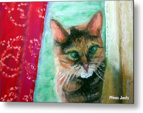 Cat Metal Print featuring the painting Rosy In Color by Minaz Jantz