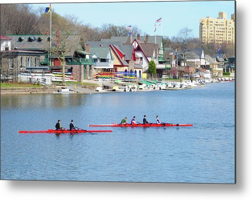 Rowers Metal Print featuring the photograph Rowing Along The Schuylkill River by Bill Cannon