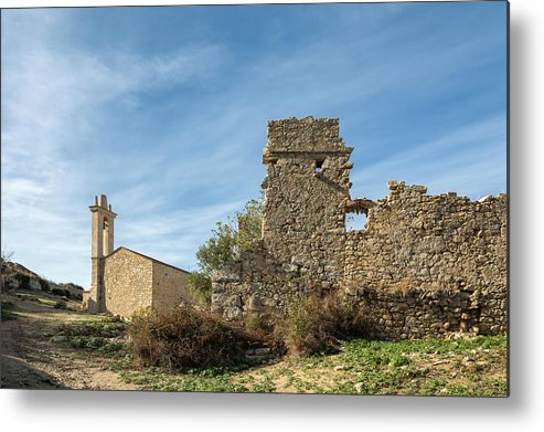 Ancient Metal Print featuring the photograph Ruined Building And Restored Church At Occi In Corsica by Jon Ingall