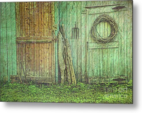 Barn Metal Print featuring the photograph Rustic Barn Doors With Grunge Texture by Sandra Cunningham